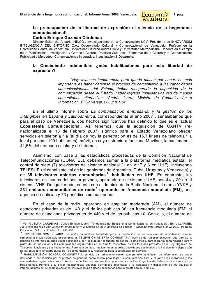 Carlos Enrique Guzmán Cárdenas Libertad Expresión y Hegemonia Comunicacional Vzla Informe Anual 2008