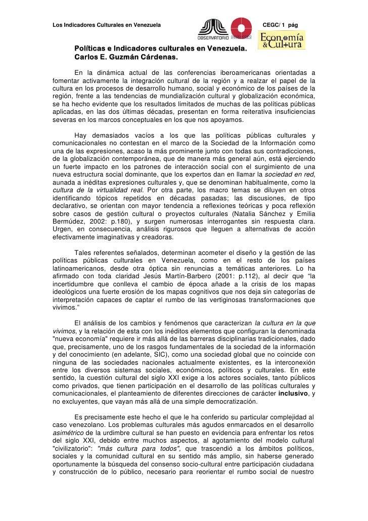 Los Indicadores Culturales en Venezuela                               CEGC/ 1 pág           Políticas e Indicadores cultur...