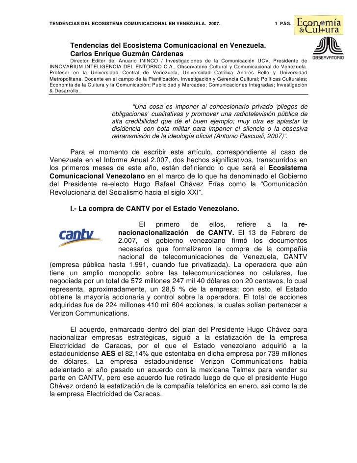 TENDENCIAS DEL ECOSISTEMA COMUNICACIONAL EN VENEZUELA. 2007.                                     1 PÁG.            Tendenc...