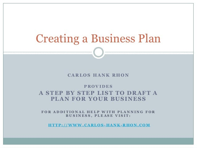 Carlos Hank Rhon,  Steps to Create a Business Plan