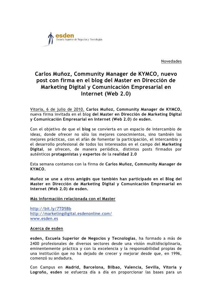 Carlos Muñoz, Community Manager de KYMCO, nuevo post con firma en el blog del Master en Dirección de Marketing Digital y Comunicación Empresarial en Internet (Web 2.0)