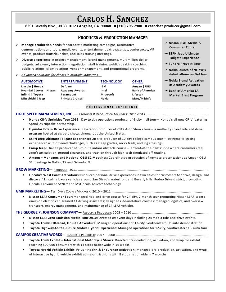 Music Producer Sample Resume