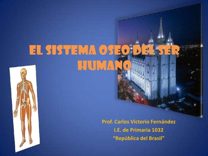 EL SISTEMA OSEO DEL SER         HUMANO               Prof. Carlos Victorio Fernández                  I.E. de Primaria 103...