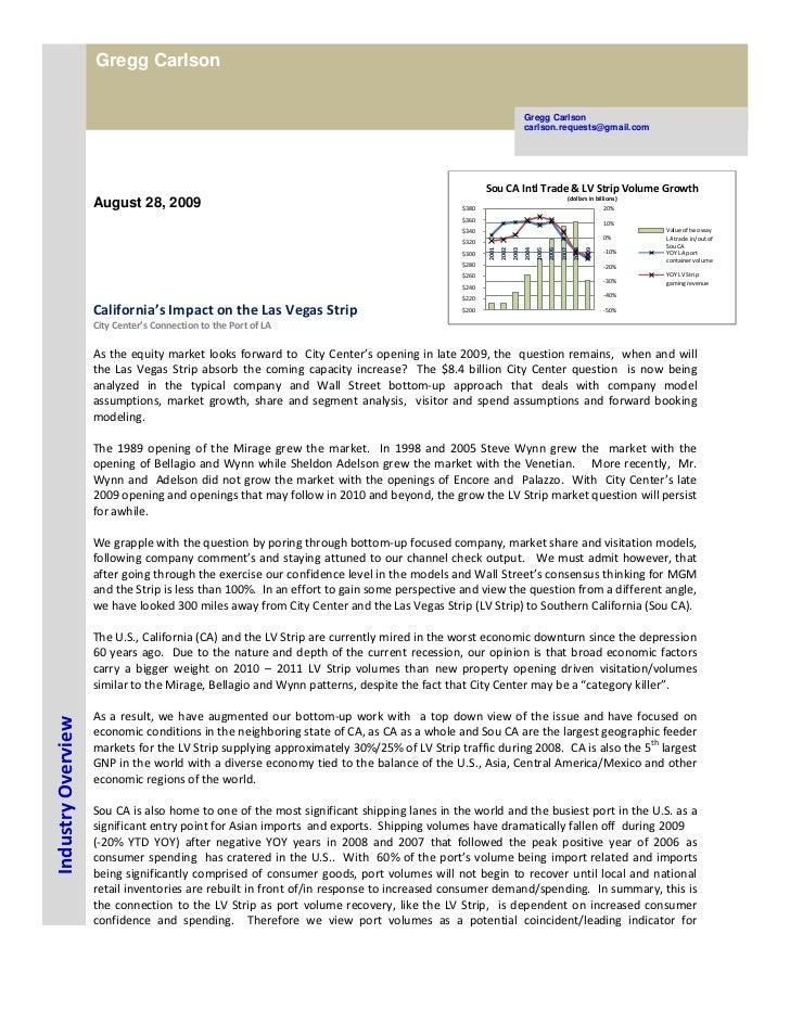 Gregg Carlson report sample California LV Strip Sept 18