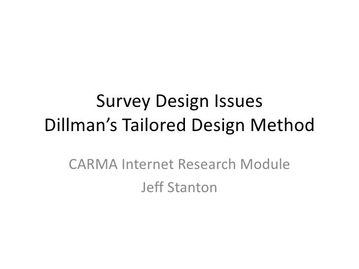 Survey Design IssuesDillman's Tailored Design Method  CARMA Internet Research Module           Jeff Stanton