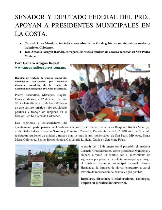 SENADOR Y DIPUTADO FEDERAL DEL PRD., APOYAN A PRESIDENTES MUNICIPALES EN LA COSTA. Carmelo Cruz Mendoza, inicia la nueva a...