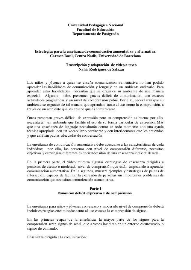 Universidad Pedagógica Nacional  Facultad de Educación  Departamento de Postgrado  Estrategias para la enseñanza de comuni...