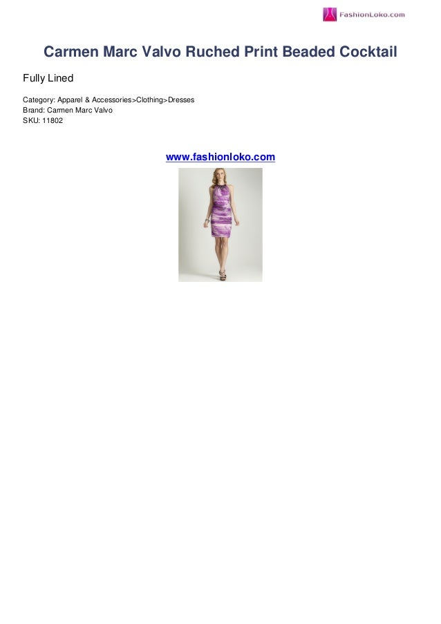 Carmen marc valvo ruched print beaded cocktail fashionloko review 740