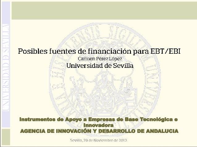 Carmen Pérez: Posibles fuentes de financiación para EBT-EBI