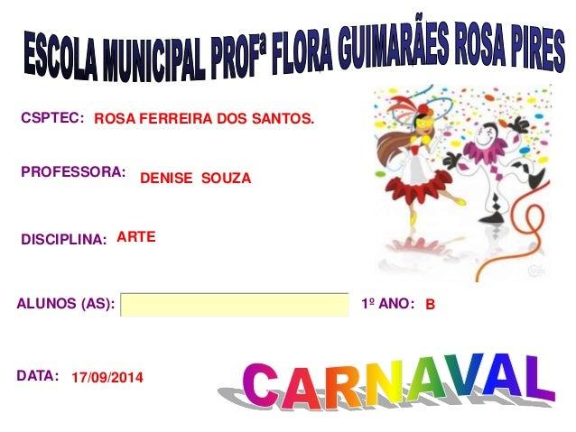 CSPTEC:  PROFESSORA:  DISCIPLINA:  ALUNOS (AS): 1º ANO:  DATA:  ROSA FERREIRA DOS SANTOS.  DENISE SOUZA  ARTE  17/09/2014 ...