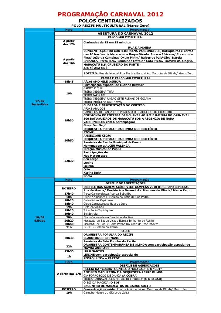 PROGRAMAÇÃO CARNAVAL 2012                             POLOS CENTRALIZADOS                         POLO RECIFE MULTICULTURA...