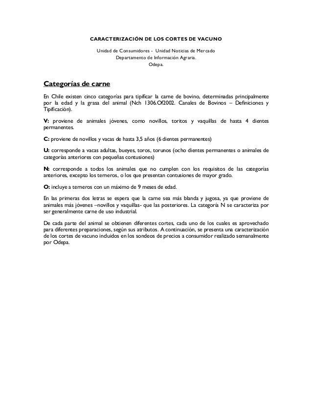 CARACTERIZACIÓN DE LOS CORTES DE VACUNO Unidad de Consumidores - Unidad Noticias de Mercado Departamento de Información Ag...