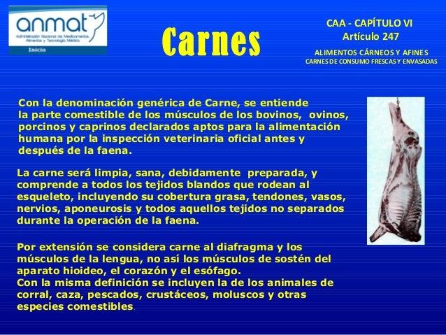 Carnes CAA - CAPÍTULO VI Artículo 247 ALIMENTOS CÁRNEOS Y AFINES CARNES DE CONSUMO FRESCAS Y ENVASADAS Con la denominación...