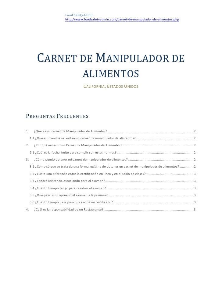 Carnet de manipulador de alimentos - Preguntas examen manipulador de alimentos ...