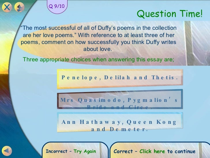 "mrs sisyphus duffy Thesis contains an analysis of duffy's poetry volumes the world's wife (1999) and feminine gospels (2001) of three poems: ""mrs beast"" (the world's wife), ""work"", and ""history"" (feminine gospels) the aim of this teresias, sisyphus' wife, darwin's wife, queen kong, elvis' sister, and mrs faust this."