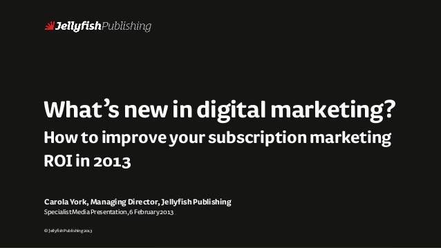 What's new in digital marketing?How to improve your subscription marketingROI in 2013Carola York, Managing Director, Jelly...