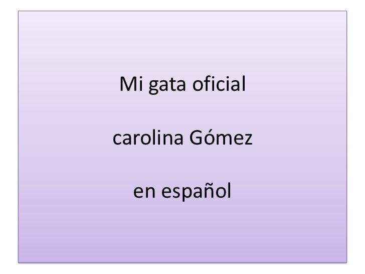 Mi gata oficialcarolina Gómezen español<br />