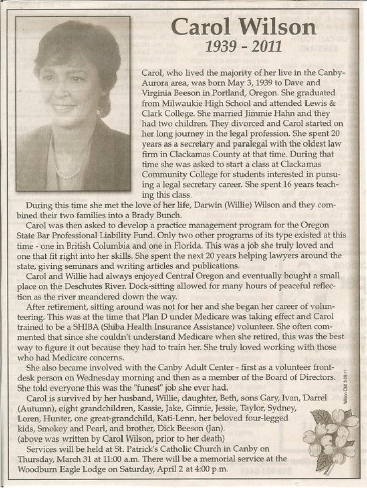 Carol Wilson in Memoriam