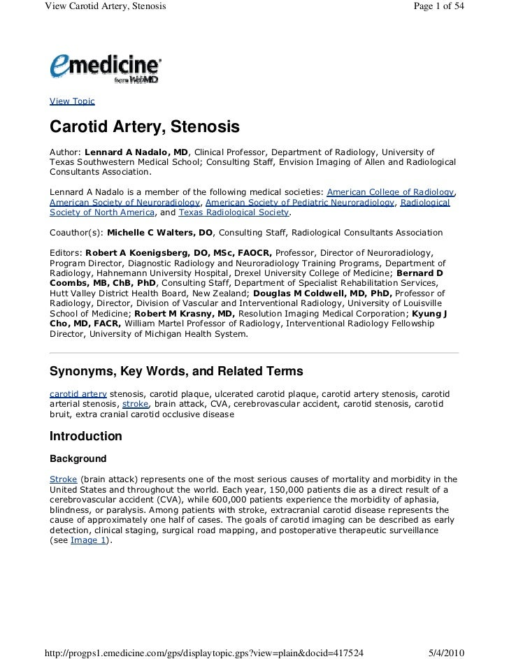 View Carotid Artery, Stenosis                                                              Page 1 of 54 View Topic Carotid...