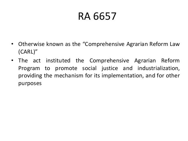 disadvantages of comprehensive agrarian reform law of 1988