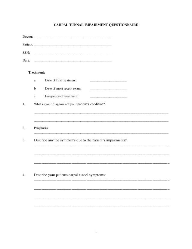 Carpal Tunnel Impairment Questionnaire