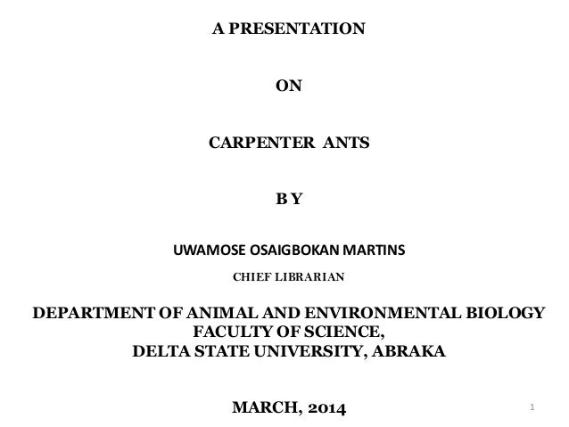 A PRESENTATION ON CARPENTER ANTS B Y UWAMOSE OSAIGBOKAN MARTINS CHIEF LIBRARIAN DEPARTMENT OF ANIMAL AND ENVIRONMENTAL BIO...
