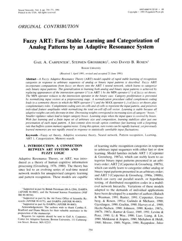 NeuralNetworks,Vol.4, pp. 759-771,1991 0893-61180/91$3.00 + .110 Printedin the USA.Allrightsreserved. Copyright'~ 1991Perg...