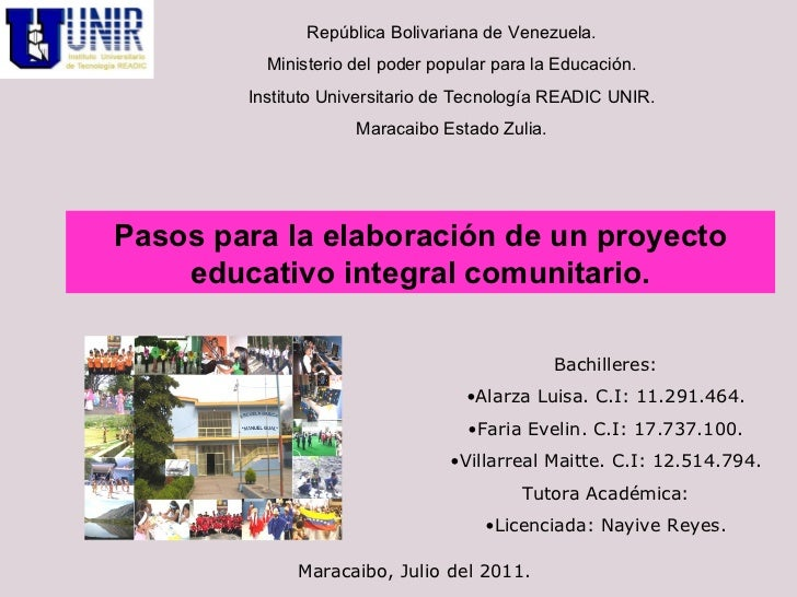 Elaboración de un Proyecto Educativo Integral Comunitario