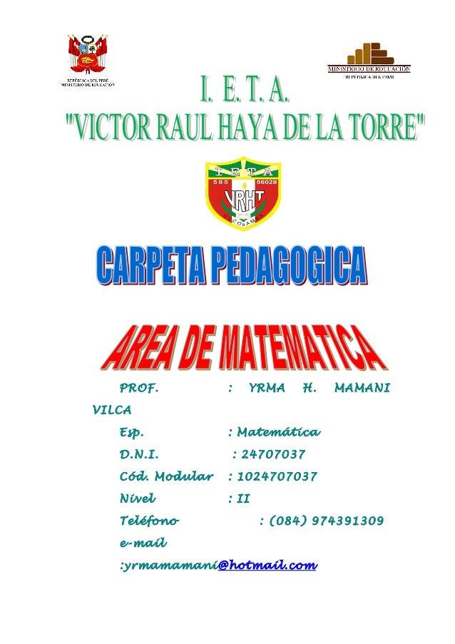 Carpeta PEDAGOGICA VRHT 2011