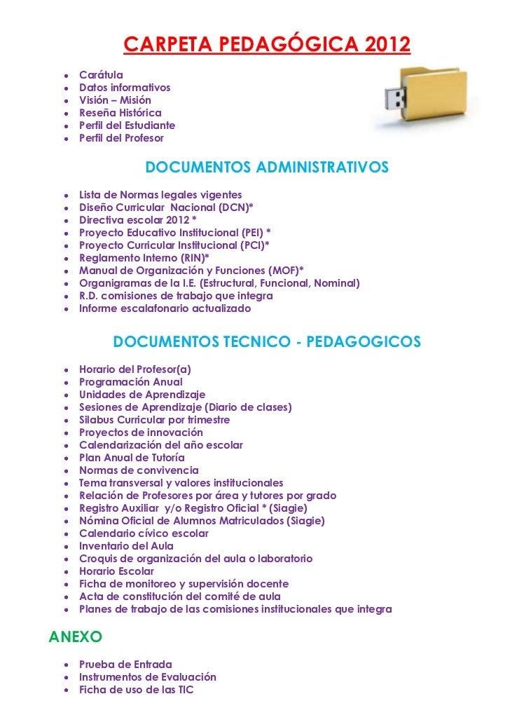 Carpeta pedagogica 2012