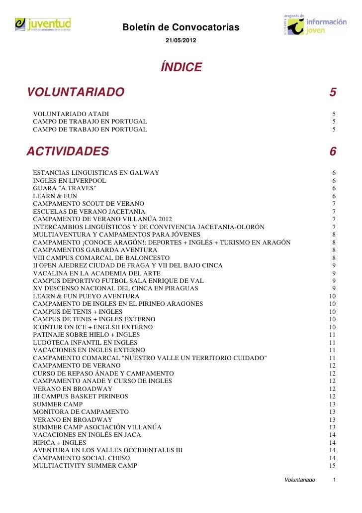 Boletín de Convocatorias                                 21/05/2012                                ÍNDICEVOLUNTARIADO     ...