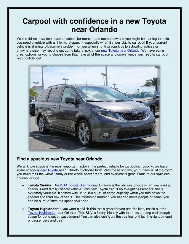 Carpool with confidence in a new Toyota near Orlando