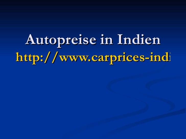 Autopreise in Indien