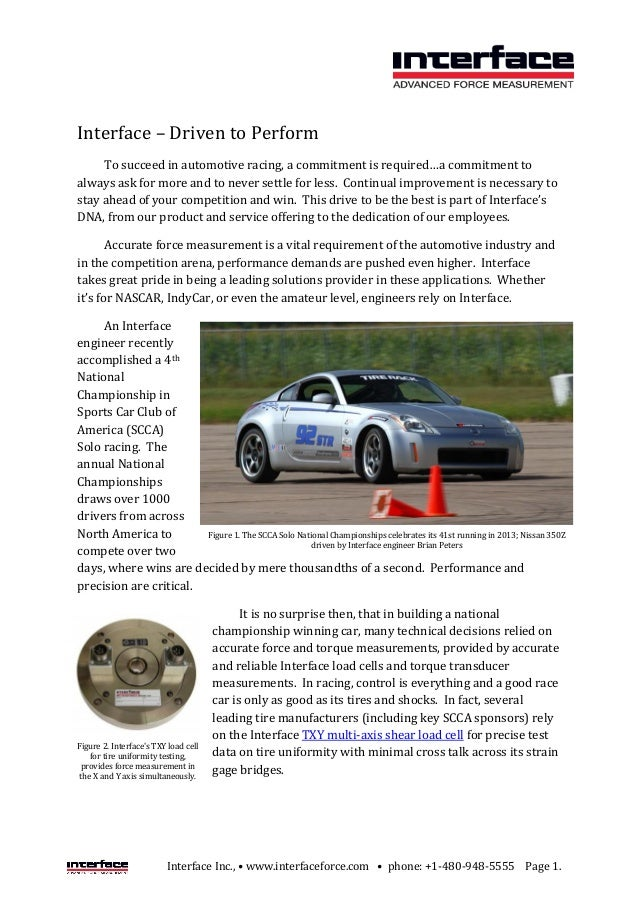 Interface Inc., • www.interfaceforce.com • phone: +1-480-948-5555 Page 1. Interface – Driven to Perform To succeed in auto...