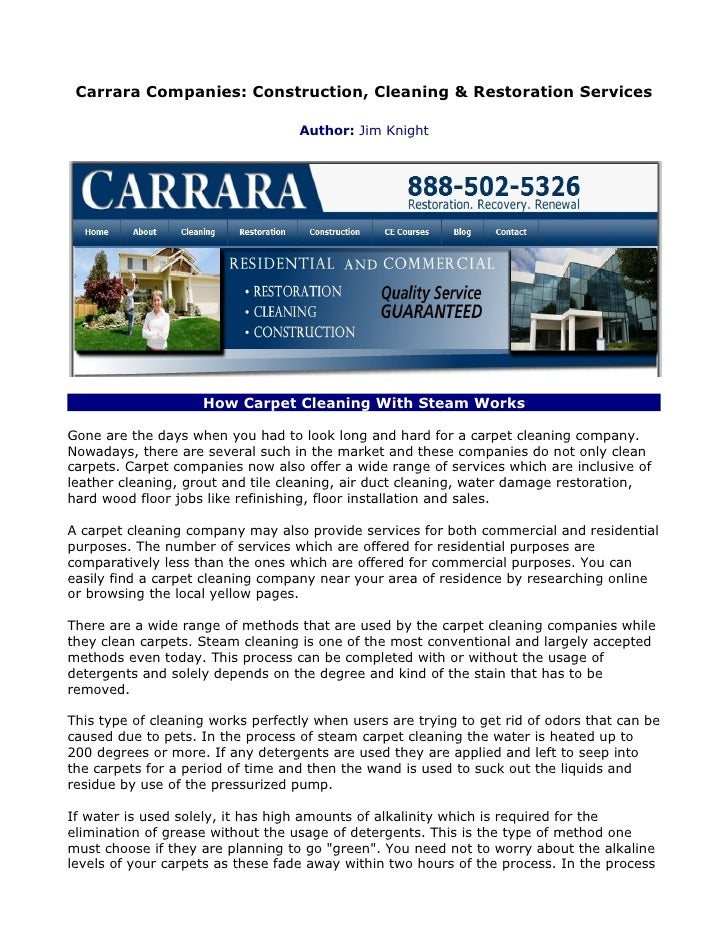 Carrara Companies: Construction, Cleaning & Restoration Services                                   Author: Jim Knight     ...