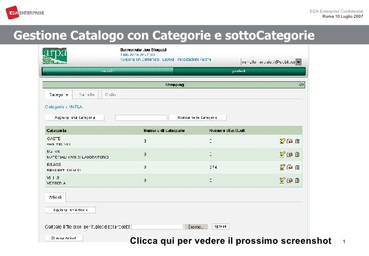Gestione Catalogo con Categorie e sottoCategorie Clicca qui per vedere il prossimo screenshot