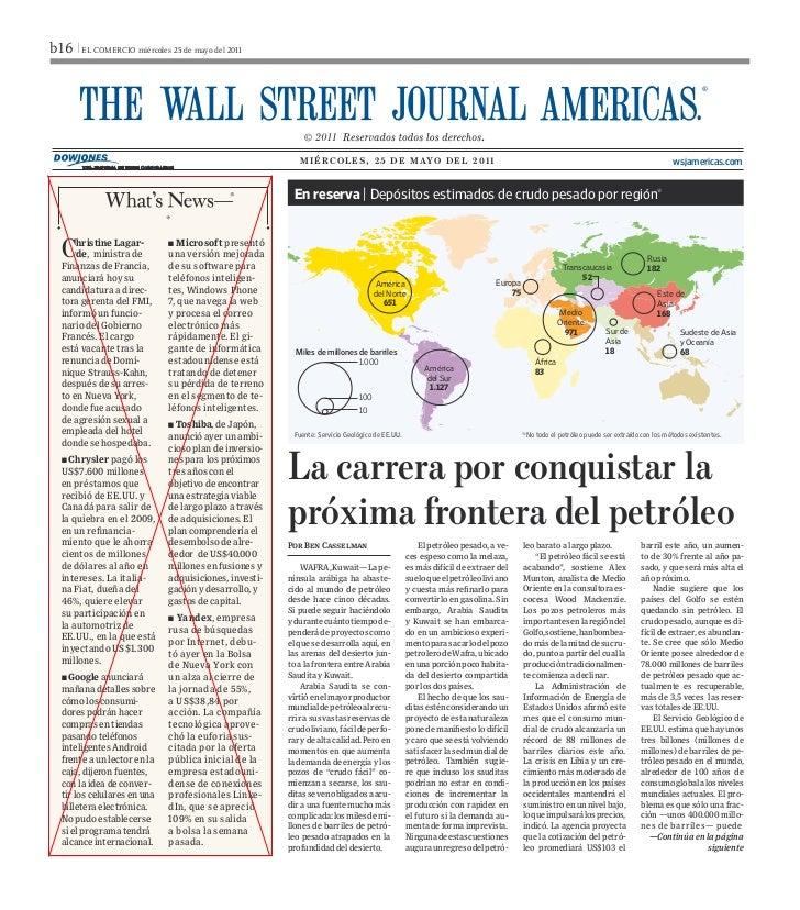 Carrera para Conquistar Frontera del Petróleo -  WSJ