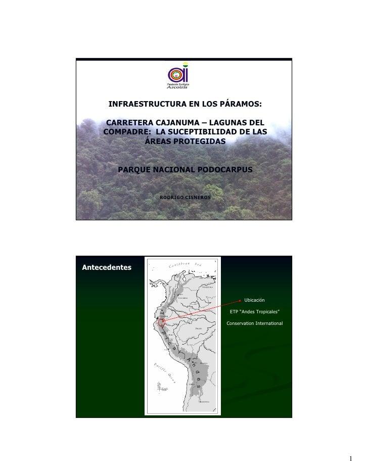 INFRAESTRUCTURA EN LOS PÁRAMOS:        CARRETERA CAJANUMA – LAGUNAS DEL      COMPADRE: LA SUCEPTIBILIDAD DE LAS           ...