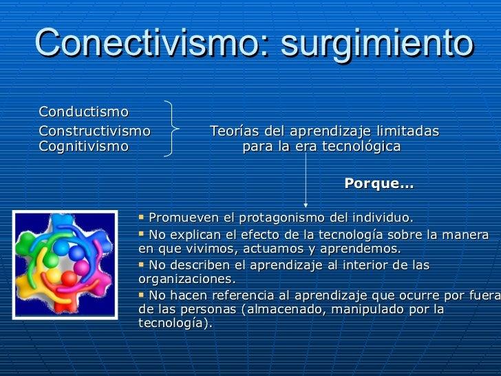 Conectivismo: surgimiento <ul><li>Conductismo </li></ul><ul><li>Constructivismo  Teorías del aprendizaje limitadas Cogniti...