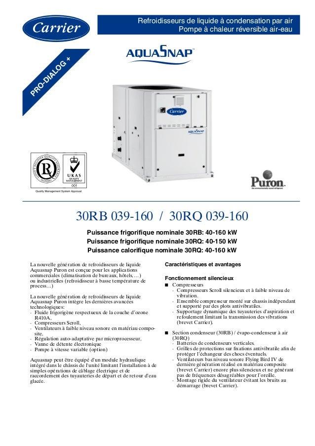Refroidisseurs de liquide à condensation par air Pompe à chaleur réversible air-eau 30RB 039-160 / 30RQ 039-160 Puissance ...