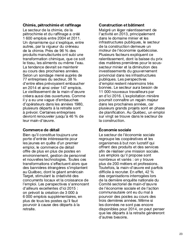 Les carri�res d'avenir 2014 - rapport de recherche