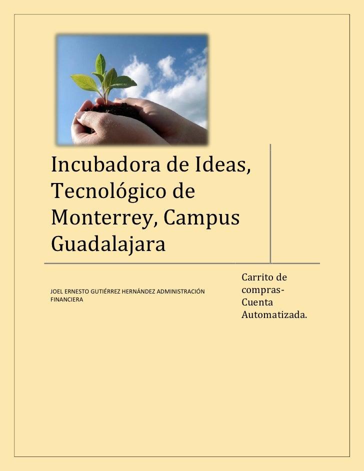 Incubadora de Ideas, Tecnológico de Monterrey, Campus Guadalajara                                                   Carrit...