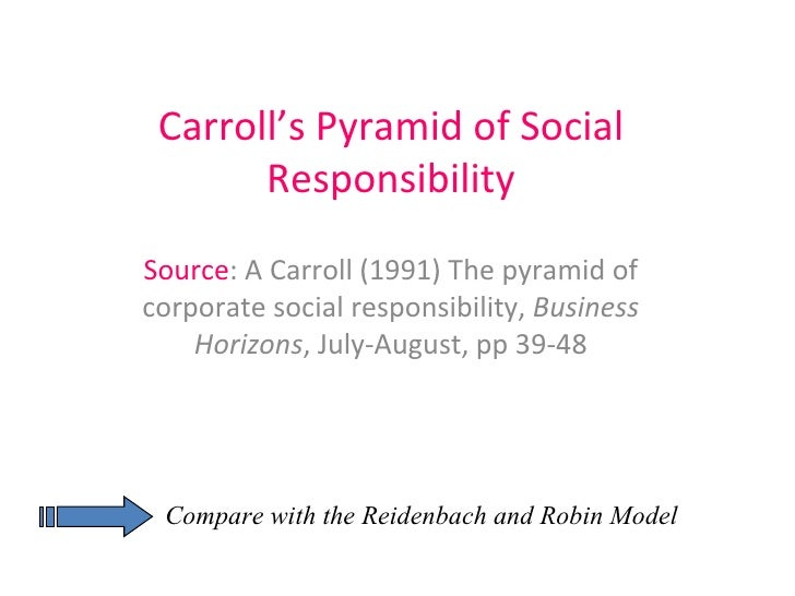 Carroll's Pyramid of Social Responsibility Source : A Carroll (1991) The pyramid of corporate social responsibility,  Busi...