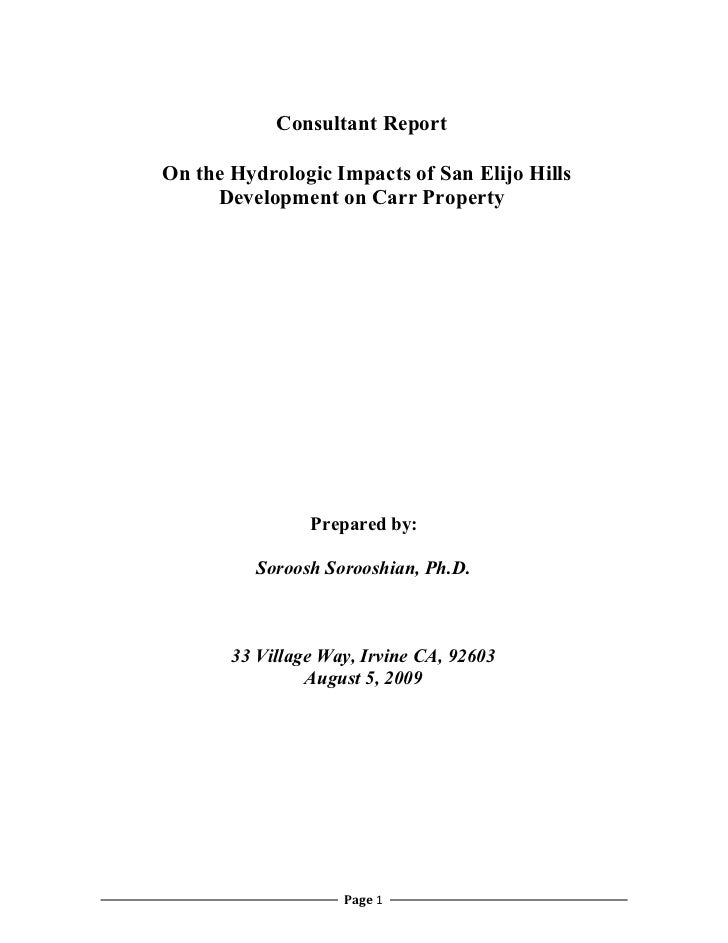 San Elijo Hills Drainage Diversion Hydrogeologist Report