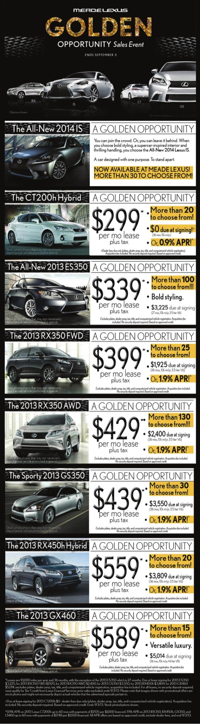 Detroit Michigan Lexus Dealer Announces Golden Opportunity Sales Event