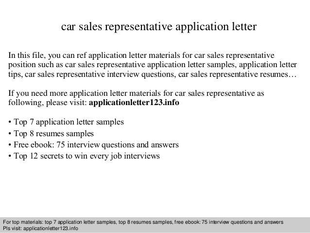 Car Sales Representative Application Letter