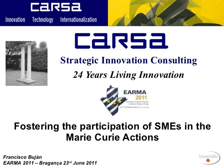 Fostering the participation of SMEs in the Marie Curie Actions 24 Years Living Innovation Strategic Innovation Consulting ...
