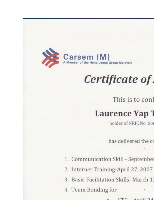 Carsem certified of teaching