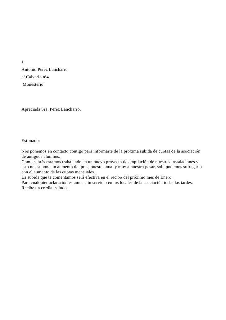 1 Antonio Perez Lancharro c/ Calvario nº4 Monesterio     Apreciada Sra. Perez Lancharro,     Estimado:  Nos ponemos en con...