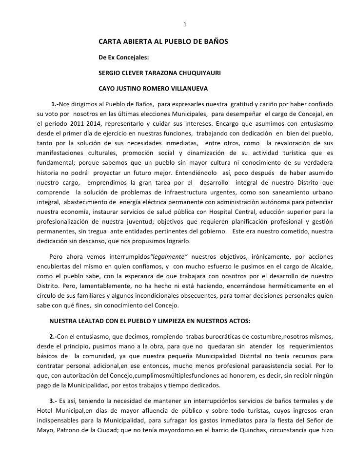 1                     CARTA ABIERTA AL PUEBLO DE BAÑOS                     De Ex Concejales:                     SERGIO CL...